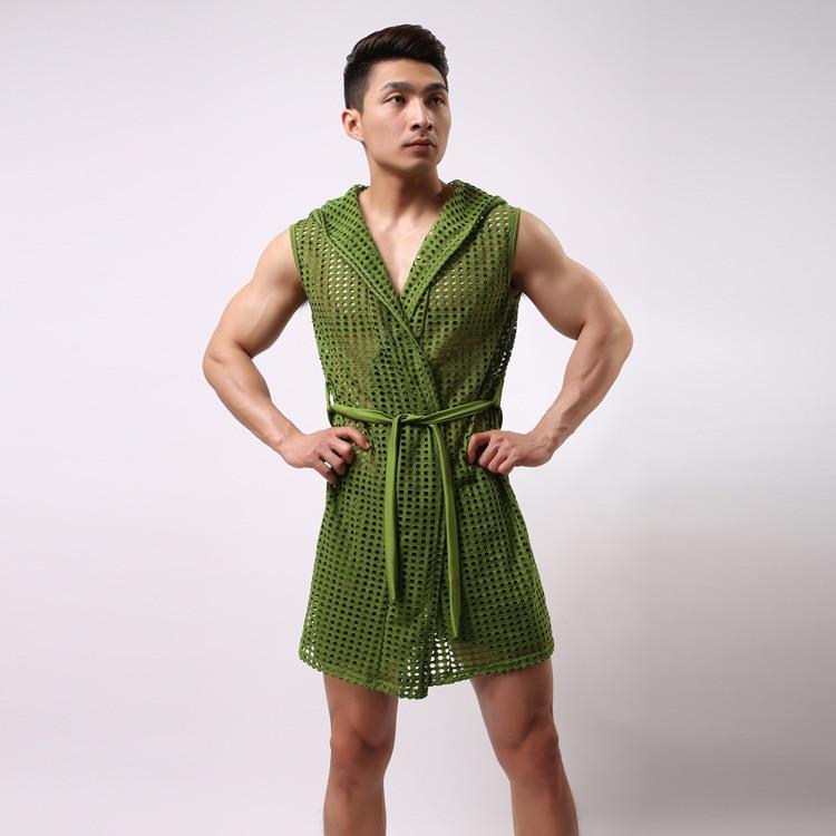 Sexy Robes For Men Summer Elastic Nylon Mesh Robe Men With A Hood Bathrobe Robe Sexy Sleepwear Men Gay Sex See Through Clothing