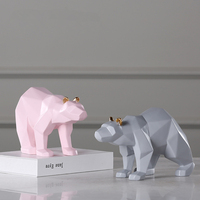 Creativity Geometric Origami Animal Resin Statue Pink&Gray Bear&Rabbit&Cat Desktop Crafts Figurine Home Decoration Accessories