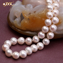 JYX 2019 High quality Pearl Necklace 8-9mm Classic White Flat Round Natural Freshwater Cultured 18 Near