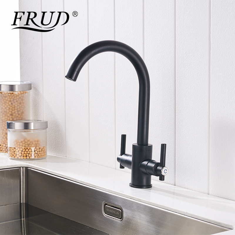 цена на Frud Two-handle Faucet Black Kitchen Hot And Cold Sink Faucet Brass Rotatable Tap Kitchen Faucet Torneira Para Cozinha Y40017