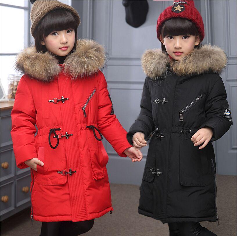 Kış Çocuk Uzun Silm Aşağı Ceket Kız Boynuz Düğme Aşağı ceket 2016 Yeni Moda Kürk Yaka Kapşonlu Kalın Erkek Sıcak mont