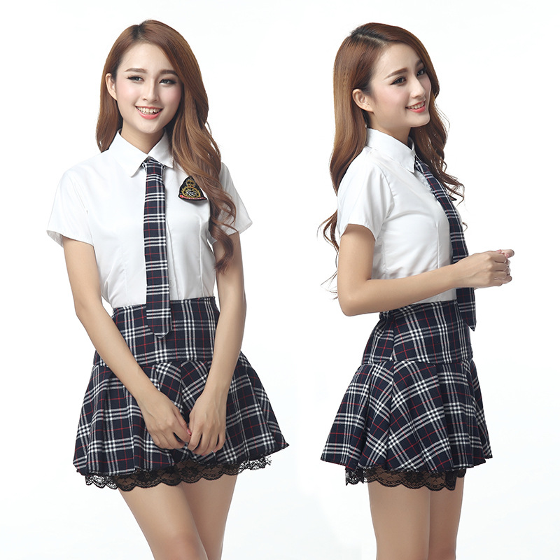 Japanese School Uniform Girls Korean Uniform School Wear Summer White Shirt + Plaid Lace Skirt Clothing