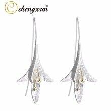 CHENGXUN 1/Pcs 925 Sterling Silver Earrings Long Flower Lily of the Valley Dangle Drop Hook Earrings