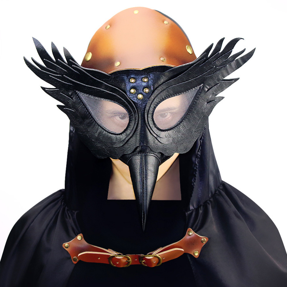 Cuir synthétique polyuréthane noir rétro Rock peste docteur Cosplay oiseau bec masque Anime masque Halloween fête gothique accessoires Steampunk accessoires