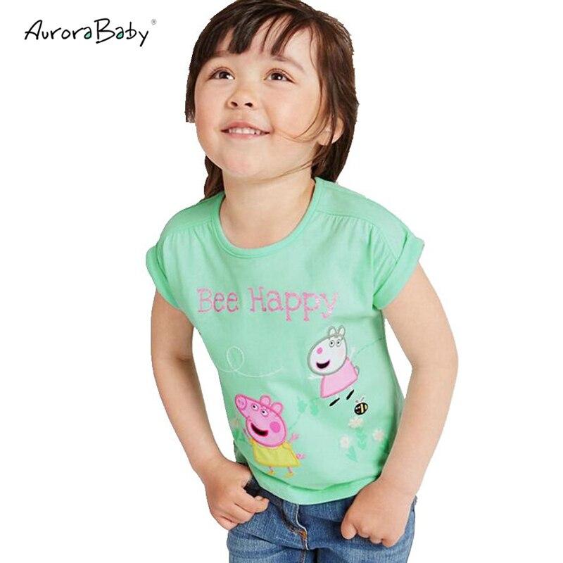 2018 New Summer Girls Cartoon piggy Pattern T-shirt Cotton Short Sleeve T Shirt Toddle Baby Girls Tops Tees Kids Clothes 18M-6T