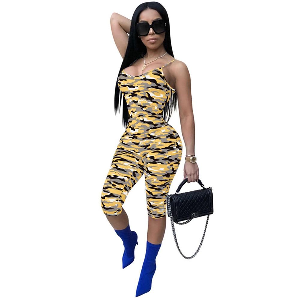 GemäßIgt Mode Frauen Overalls Sommer Sexy Overall 2019 6 Farben Camouflage Digitaldruck ärmellose Dünne Plus Größe Overall Kurze Modische Muster