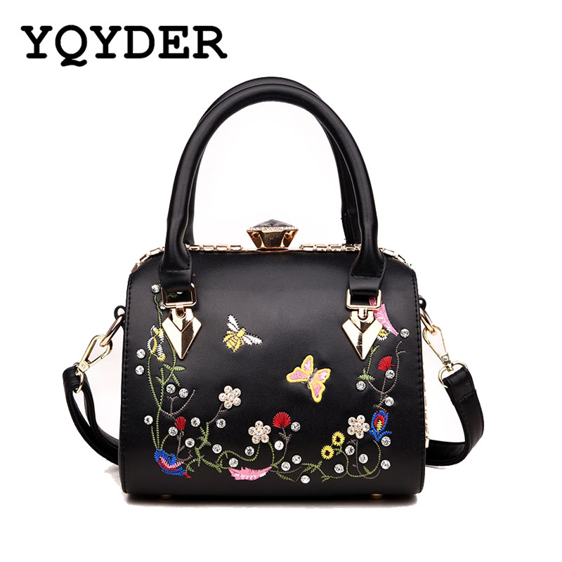 Flower Embroidery Brand Luxury Handbags Women Bags Designer Tote Over Shoulder Crossbody Messenger Bag PU Leather Female Sac giaevvi luxury handbags split leather tote women messenger bags 2017 brand design chain women shoulder bag crossbody for girls