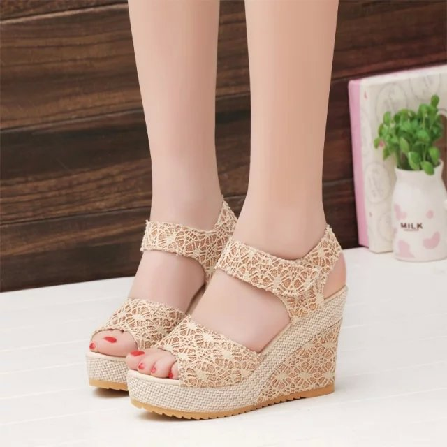 03a93504a36f 2018 Women Sandals Summer New Open Toe Fish Head Fashion platform High Heels  Wedge Sandals female shoes women shoes Size 35-40