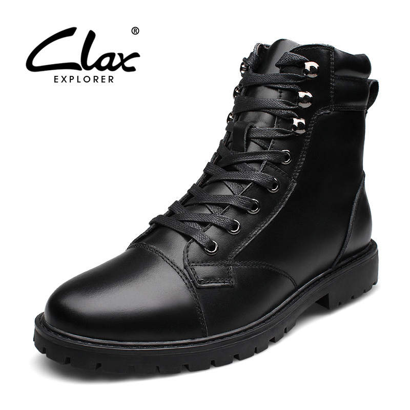 CLAX Men Genuine Leather Boots 2017 Autumn Casual High Boots Male Winter Snow Boot Fur Warm Handmade Walking Shoes Safety Shoe clax men dress boots genuine leather 2017 winter black formal shoes male handmade snow shoe plush fur warm footwear big size