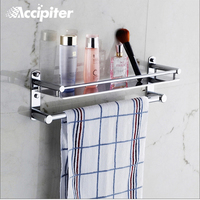 Wall Mounted Bathroom Accessories Stainless Steel Bathroom Shelves With Towel Bar With Hooks