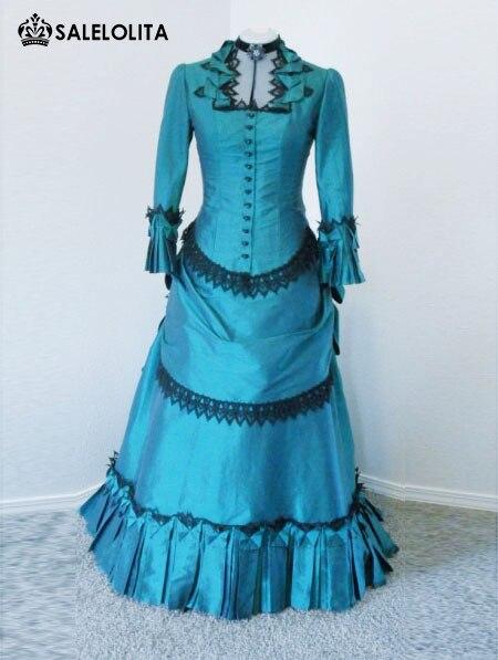 Best selling blue taffeta victorian bustle ball gown dress for Victorian bustle wedding dress