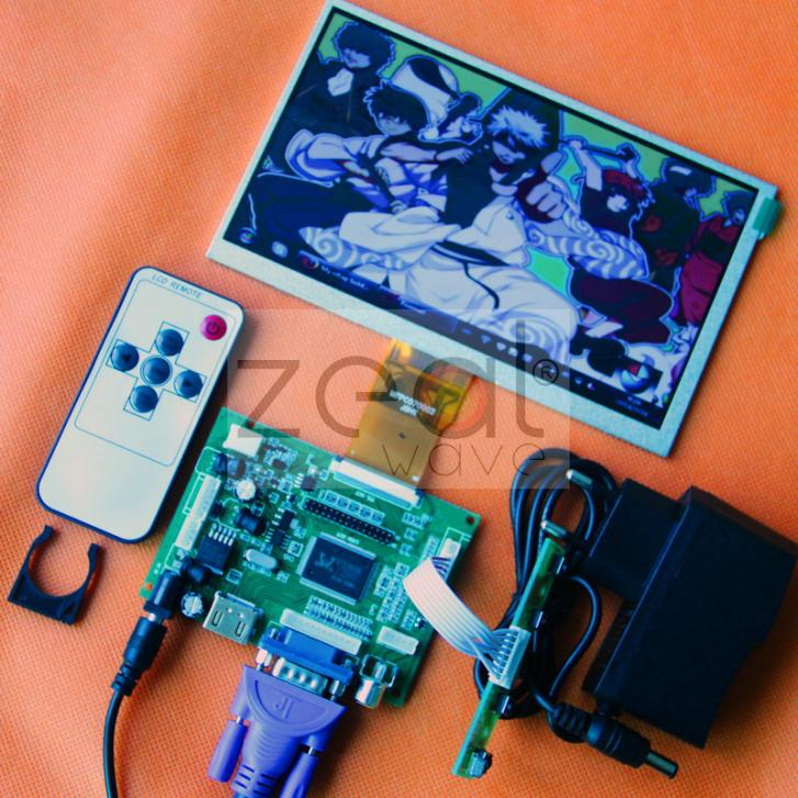 HDMI/VGA/2AV+Reversing Driver Board+DC 12V1A Power Supply +7inch LCD Display 800*480 LCD Display 165*100mm vga 2av audio reversing lcd driver board 10 1inch n101bge 1366 768 lcd panel