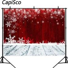 Capisco Christmas Backdrop Red Snowflake Festive Photography Backdrops Wooden Floor Vinyl Backgrounds for Photo Studio Photocall цена
