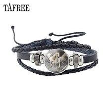 TAFREE Fashion White Black Horse Bracelet Adjustable Braided Rope Glass Gem Animal Pattern Charm Punk Jewelry Gift A49