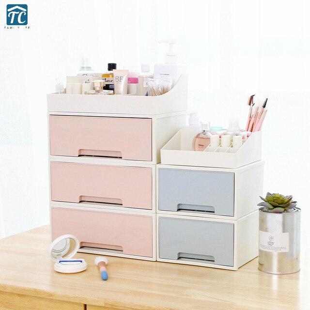Plastic Cute Cosmetic Storage Box Drawer Multi Layer Dressing Table Desktop Rack Makeup Organizer