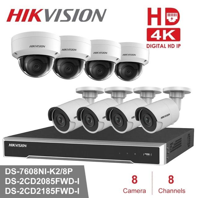 Hikvision 8CH комплект системы охранного видеонаблюдения 4MP камера безопасности Система 8CH POE NVR Max 4 K выход 8 шт. 8MP POE IP камера CCTV Водонепроницаемая