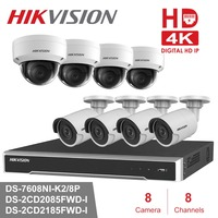 Hikvision 8CH CCTV Surveillance Kit 4MP Security Camera System 8CH POE NVR Max 4K Output 8Pcs 8MP POE IP Camera CCTV Waterproof
