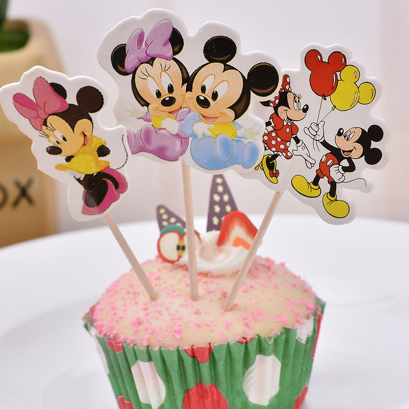 24pcs Mickey & Minnie mouse Cupcake Topper Picks Birthday Wedding Party Decorations Kids Evnent Party Favors Party Decoration