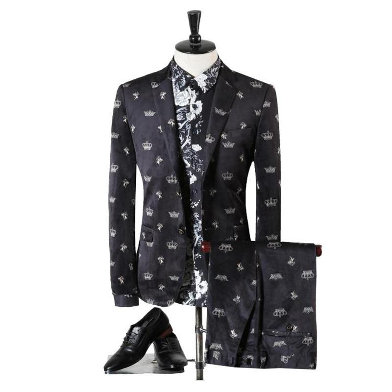 2017 New Seasons Fashion Casual Style Men's Wedding Dress European Version High Quality Two Pieces Slim Men Suits (Jacket+Pants)
