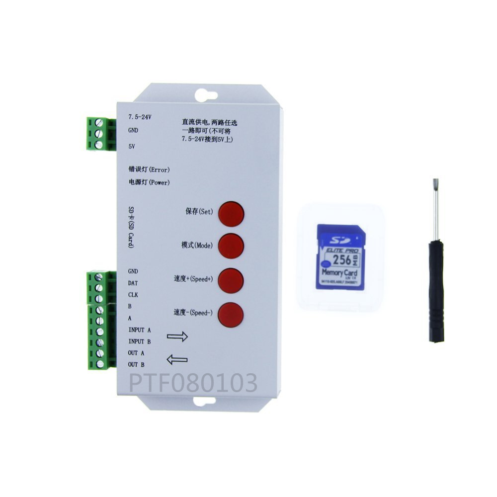 LED T1000S 128 SD Card Pixels Controller,DC5~24V,for WS2801 WS2811 WS2812B LPD6803 LED 2048 strip light lamp image