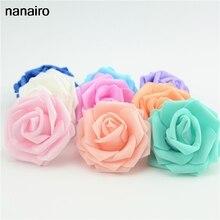 10 adet 7cm yapay PE köpük güller çiçekler ev düğün dekorasyon için Scrapbooking el yapımı sahte çiçek kafaları öpüşme topları