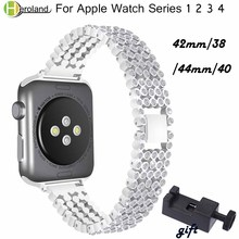 Bracelet Crystal Diamond strap for Apple Watch band 38 42mm 40 44mm stainless steel Replacement Bands for iWatch series 1 2 3 4 цена 2017