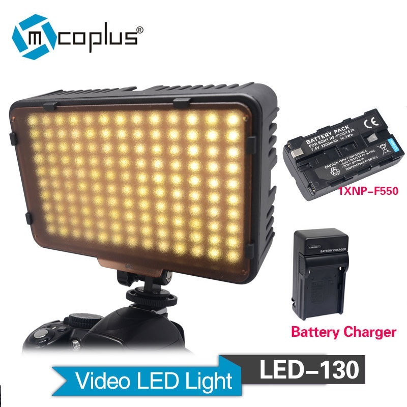Mcoplus 130 LED Video Light with 1x NP-F550 Battery & Charger for Canon Nikon Sony Pentax Panasonic Samsung Olympus DV Camcorder mcoplus 322 led photo studio video light for canon nikon panasonic pentax samsung olympus