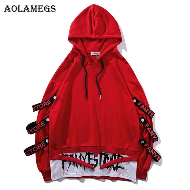 Aolamegs Hoodies Men Fake 2 Pieces Ribbons Hooded High Street Pullover Sweatshirt Men Fashion Hip Hop Streetwear Hoodie Autumn