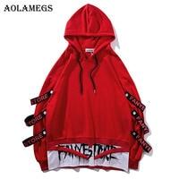 Aolamegs Hoodies Men Fake 2 Pieces Ribbons Hooded High Street Pullover Sweatshirt Men Fashion Hip Hop Streetwear Hoodie Autumn