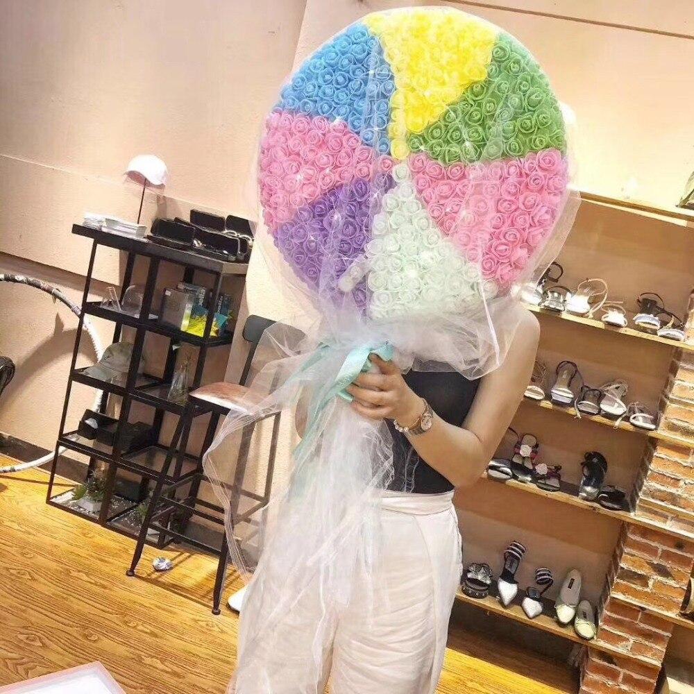 68*40cm*10cm Giant rainbow lollipop PE immortal flowers roses hold flowers Valentine's Day bouquet, Tanabata birthday gift - 6