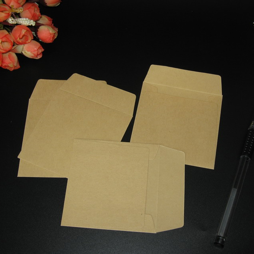 100PCS/lot square 8x8cm Kraft Envelopes Square small envelope card bank card membership card envelope office