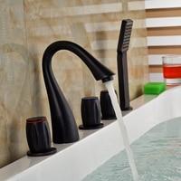 Deck Mount Three Handles Bathroom Tub Mixer Filler Widespread with Handshower Bath Shower Faucet