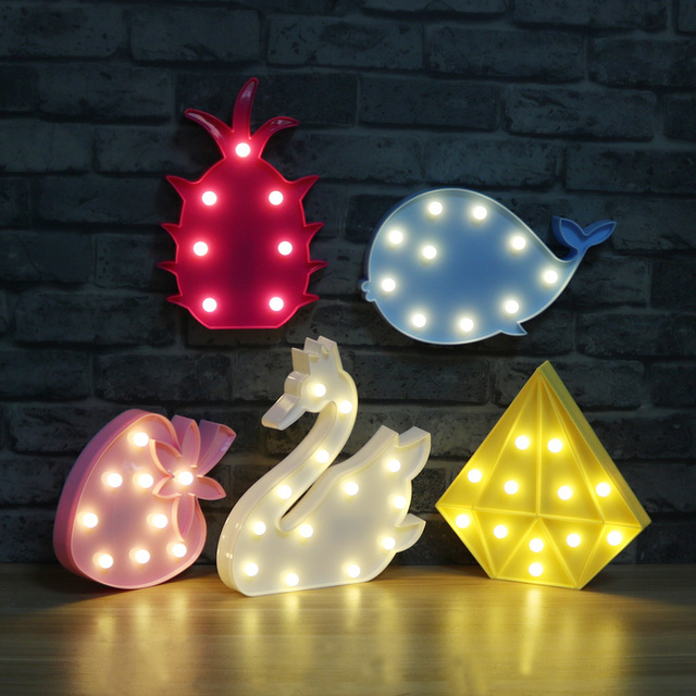3d marquee night lamp dinosaur swan whale dolphin battery operated letter light for christmas decoration kids