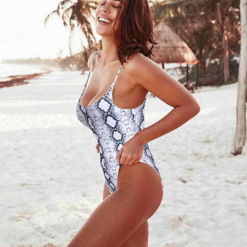 2019 Summer Women Leopard Snake Print Swimwear One Piece Swimsuit Sexy Girl Sling Halter Mini Bikini in Bikinis Set from Sports Entertainment