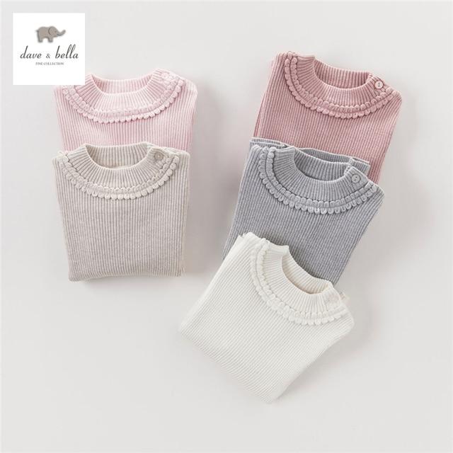 DB4151 dave bella autumn baby girls solid sweater pink beige gray textile girls cotton cashmere wool sweater