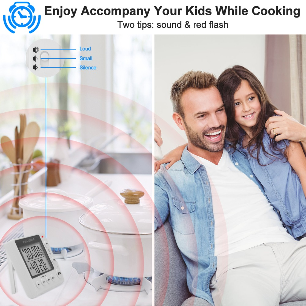Digital Kitchen Timer Cooking Timers  timer kitchen digital timer alarm timer countdown timer kitchen timer for kids 2-channel flashing kitchen timer Indoor temperature and humidity meter4