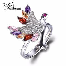 JewelryPalace Hen Multicolor Cubic Zirconia Ring Real 925 Sterling Silver Jewellery For Girls Model New Vogue Love Present