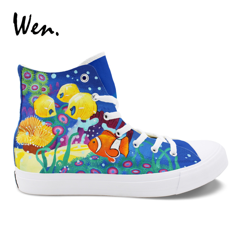 Wen Design Canvas Hand Painted Original Shoes Sea Creatures Coral Clownfish Nemo High Top Unisex Skateboarding Shoes Sneakers цена