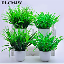 Artificial grass Artificial plants Bonsai Green plants leave Potted for wedding party decoration Green plant flower fake bonsai