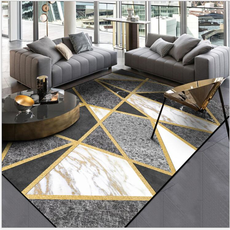 US $11.68 26% OFF|AOVOLL Fashion Modern Black And White Gray Marble Gold  Line Cross Door Mat Carpet Bedroom Rug Living Room Kitchen Mats-in Carpet  ...