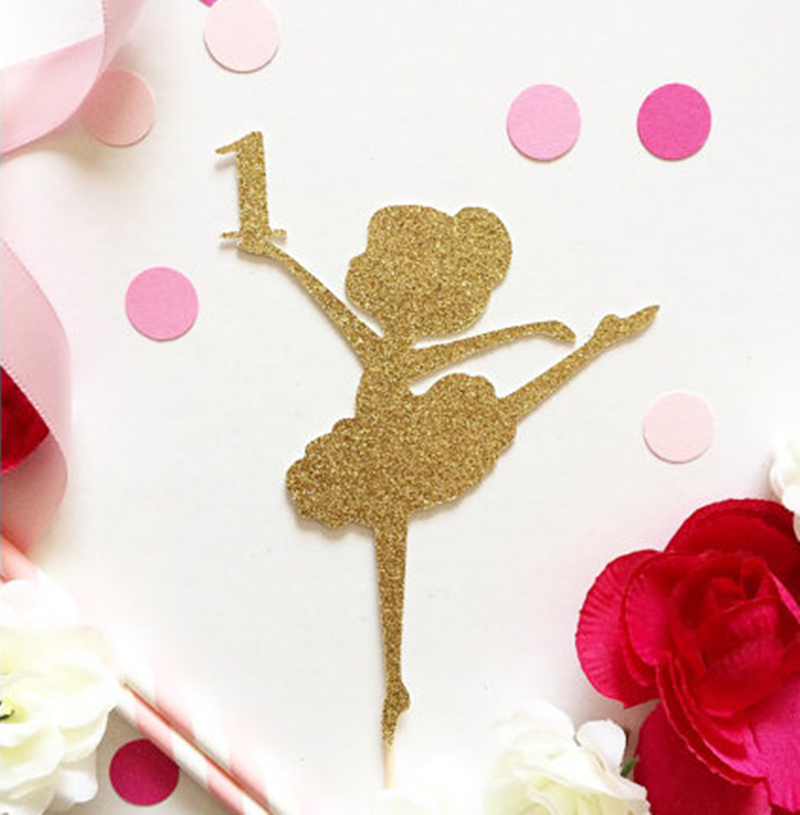 Glitter gold ballet dancing baby girl 1st birthday party for Baby footprints cake decoration