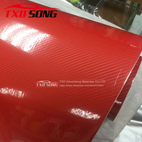 New arrival Red 5D carbon fiber film with air free bubbles, red glossy carbon car sticker with size:1.52*20M by free shipping