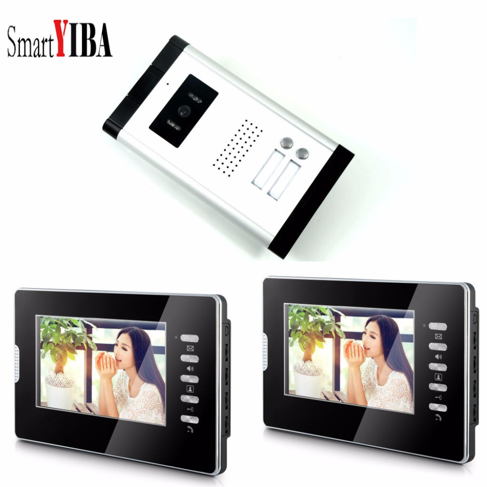 SmartYIBA 7 Wired Video Security Door Phone Sets Visiophone Filaire Video Deurbel Intercom Door System For 2 Units ApartmentSmartYIBA 7 Wired Video Security Door Phone Sets Visiophone Filaire Video Deurbel Intercom Door System For 2 Units Apartment