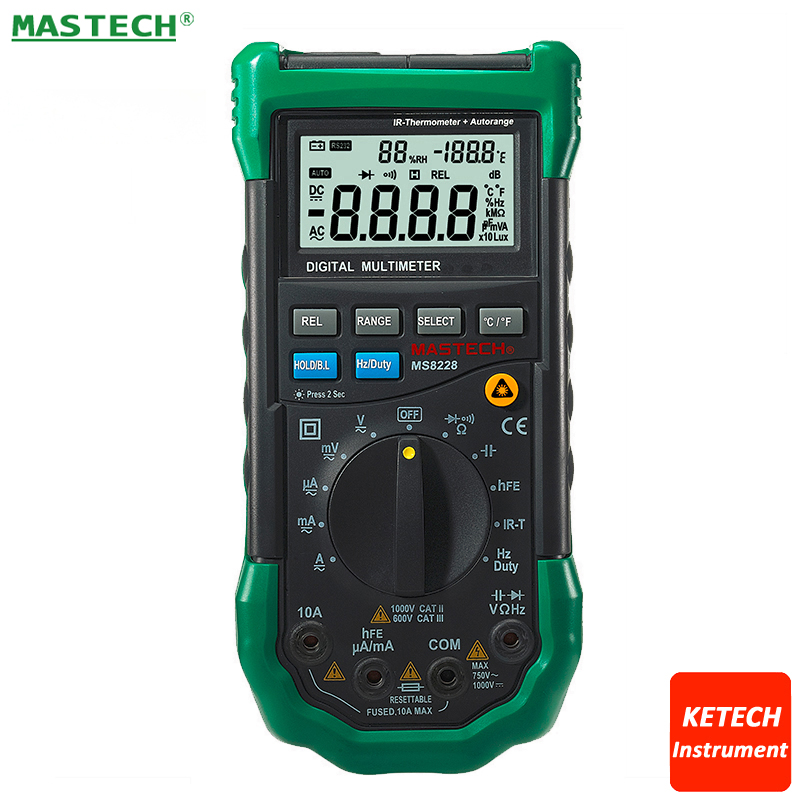 Infrared IR Thermometer -20C to 300C & Digital Multimeter DMM 2in1 4KCounts DCAC V/A Ohm Capacitance Frequency HFE Diode MS8228 1 pcs mastech ms8269 digital auto ranging multimeter dmm test capacitance frequency worldwide store