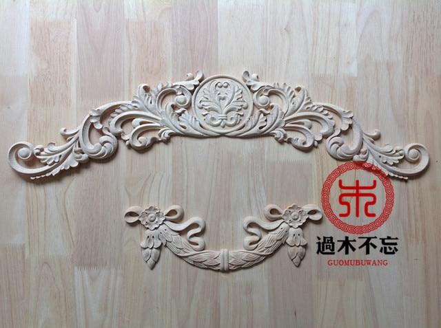 Universal b style unpainted wood oak carved corner onlay applique