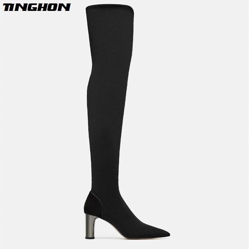 Señoras Mujeres Apretado Black Zapatos Rodilla Del Dedo De Pie Sobre Tacones Tinghon Botas La Negro Puntiagudo Las Moda Finos Alto UZxqdn