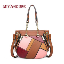 Miyahouse Panelled Candy Color Shoulder Bag For Women PU Leather Messenger Bag For Female High Quality Crossbody Bag Lady