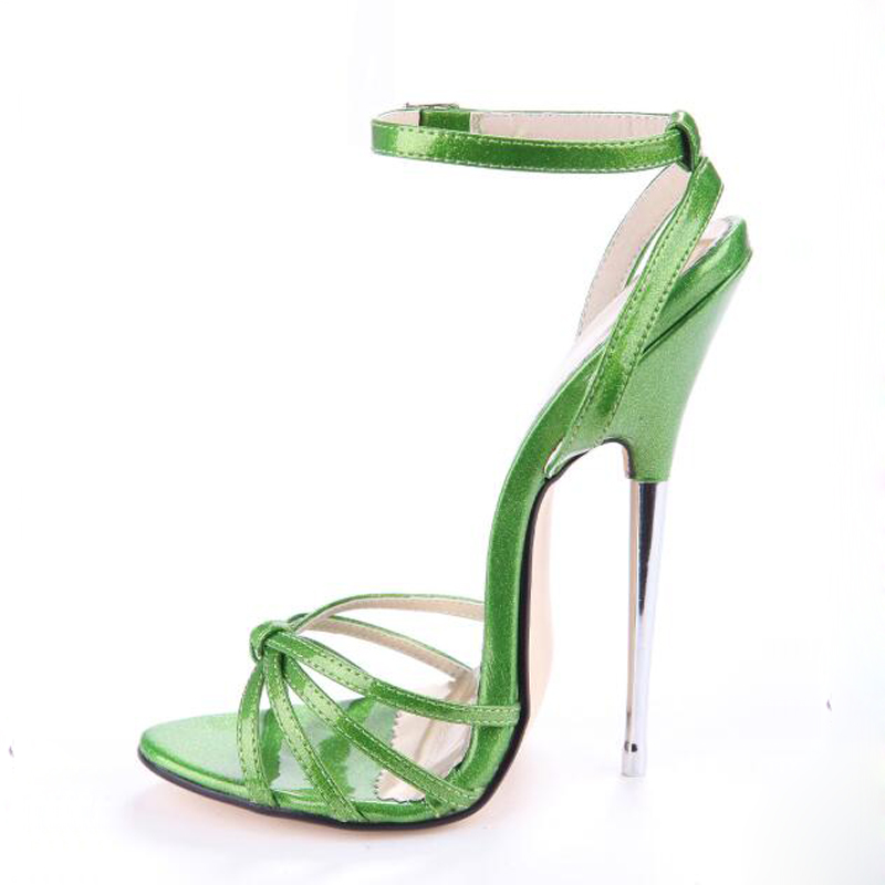 Summer Metal 16cm ultra high heel sandals opening pointed toe female sandals sexy ankle buckle Strap woman party shoes big size women summer sexy sandals snakeskin wedding party 16cm super high metal thin heel pointed toe glossy pumps buckle strap shoes