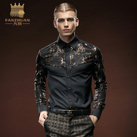 FANZHUAN 2017 Brand Mens Clothing Autumn New Products long Sleeves Shirts Men Tuxedo Shirts Slim Fit Black Lace Shirt Coat