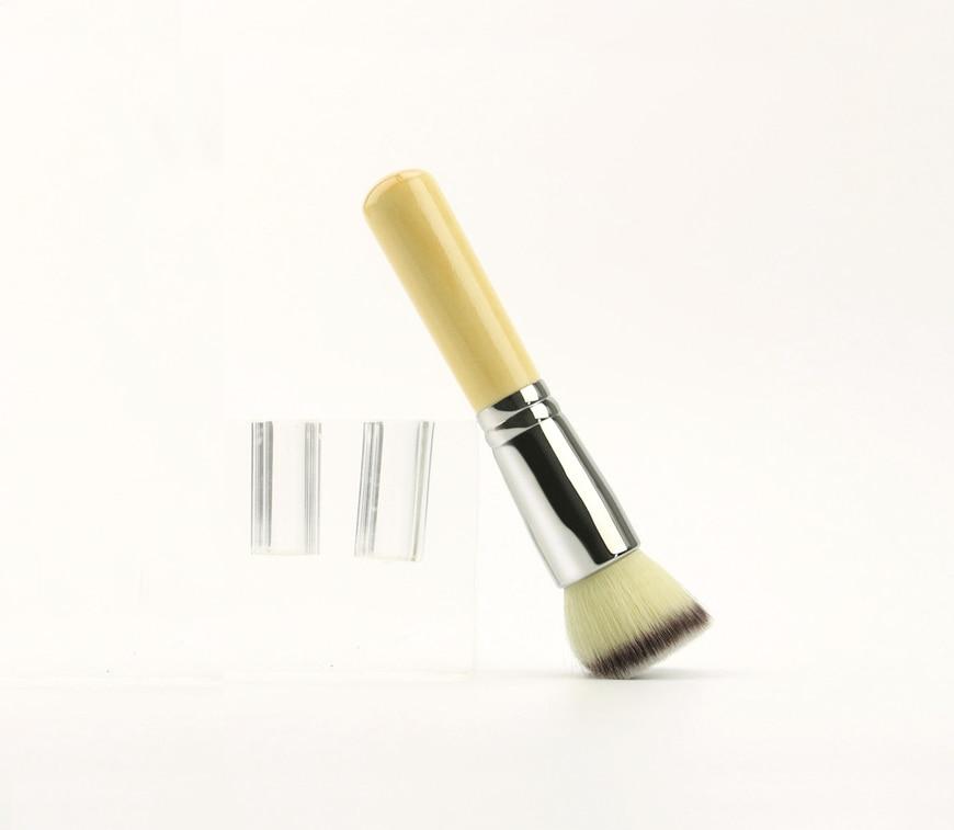 Brocha de base de maquillaje superior plana profesional, pelo sintético + cobre, pincel de maquillaje